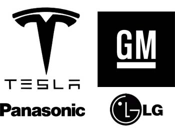 tesla panasonic general motors lg - 350