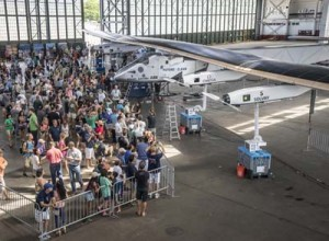 Hawaii, United States of America, July 5, 2015: A public visit is organized in the Solar Impulse hangar, welcoming the local people of Hawaii. The First Round-the-World Solar Flight will take 500 flight hours and cover 35'000 km, taking five months to complete. Swiss founders and pilots, Bertrand Piccard and André Borschberg hope to demonstrate how pioneering spirit, innovation and clean technologies can change the world. The duo will take turns flying Solar Impulse 2, changing at each stop and will fly over the Arabian Sea, to India, to Myanmar, to China, across the Pacific Ocean, to the United States, over the Atlantic Ocean to Southern Europe or Northern Africa before finishing the journey by returning to the initial departure point. Landings will be made every few days to switch pilots and organize public events for governments, schools and universities.