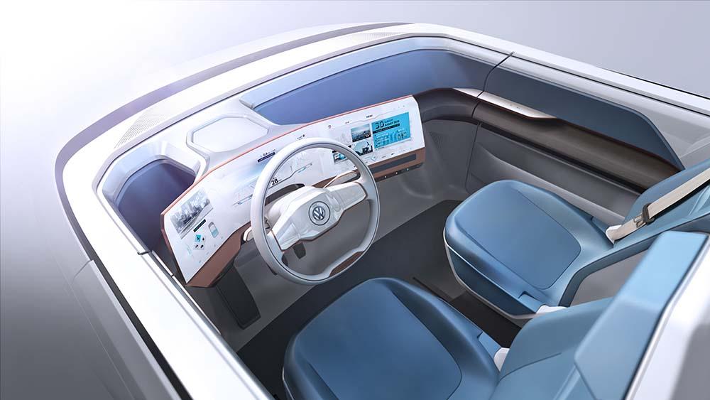 cabina de conduccion del volkswagen budd-e concept