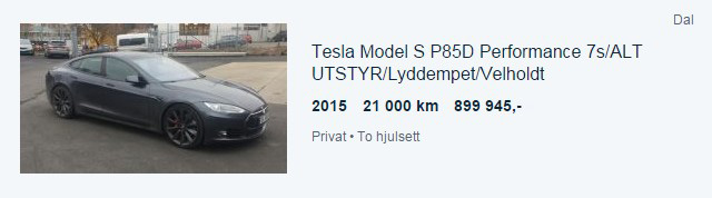 Tesla Model S P85D de segunda mano