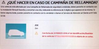 Llamada a revisión del Renault Zoe