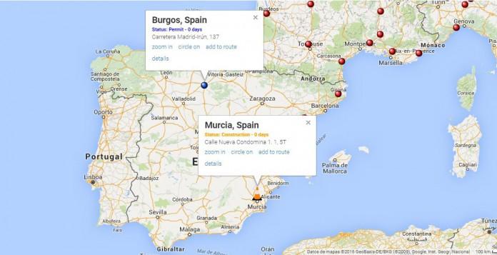 Mapa de supercargadores de Tesla en España según supercharge.info