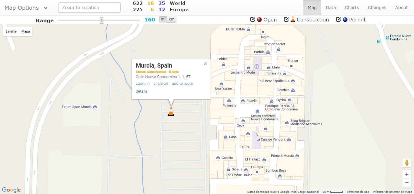 Situación del Supercargador de Murcia según supercharge.info