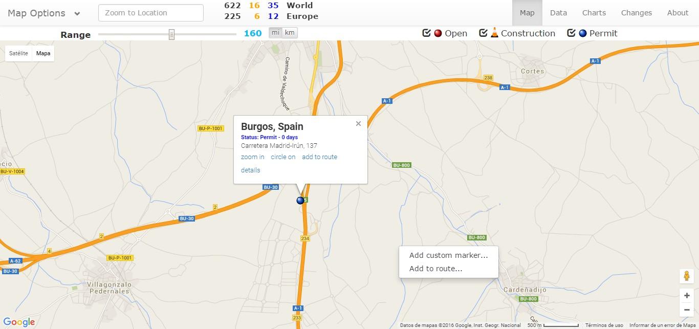 Situación del supercargador de Burgos según supercharge.info