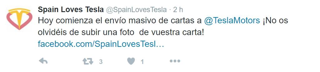 Tweet de SpainLovesTESLA animando al envío masivo de cartas a Elon Musk