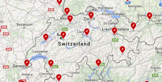 Red de supercargadores de Tesla Motors en Suiza
