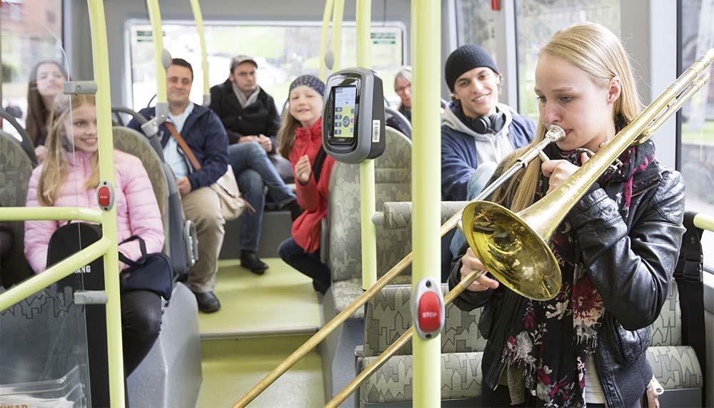 Conciertos en la ruta del autobús eléctrico 55 en Gotemburgo