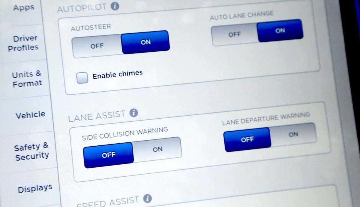 Menú de configuración de los sitemas incluidos en el Autopilot