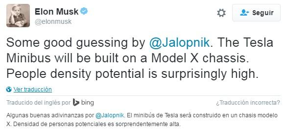 Tweet de Elon Musk sobre el minibús eléctrico de Tesla
