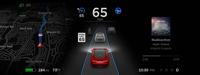 Interface de la versión 8.0 del Autopilot de Tesla