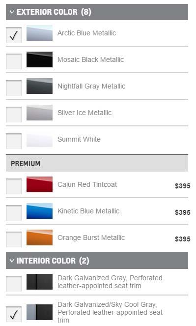 Colores disponibles en el configurador del Chevrolet Volt (Premier)