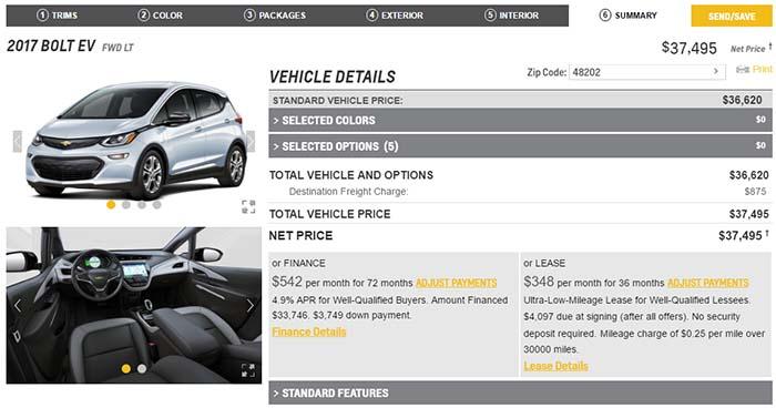 Precio final de la opción más económica segú el configurador del Chevrolet Bolt