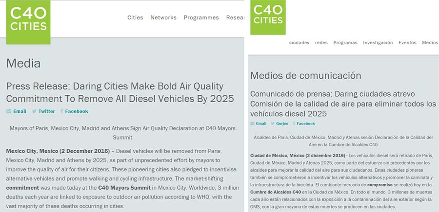 Nota de prensa de la C40 y traducción - Madrid no prohibirá los vehículos diésel