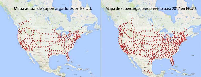 Mapa de supercargadores en EE.UU.