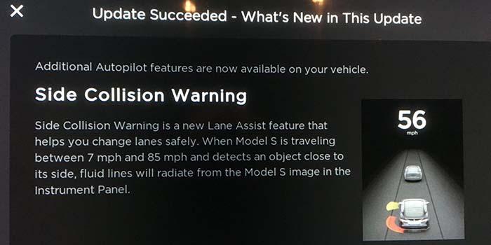 Advertencia de colisión lateral del Autopilot 2.0 de Tesla