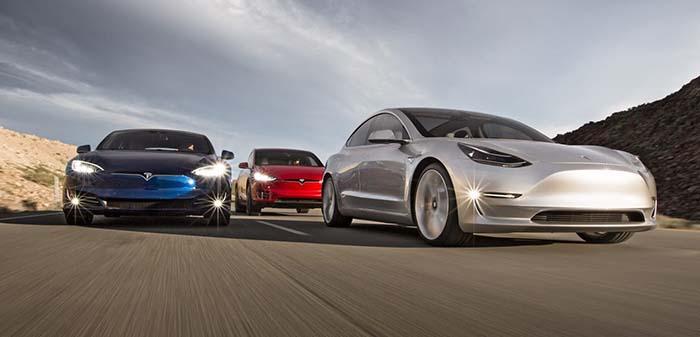 Tesla Model 3, Tesla Model S y Tesla Model X
