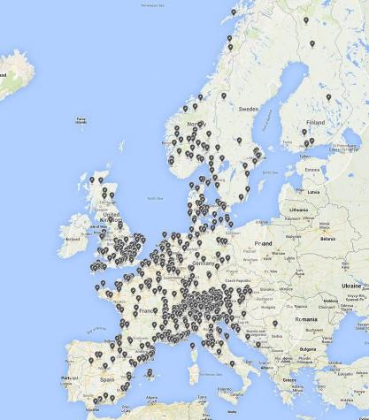 Ubicación del programa Destination Charging en Europa