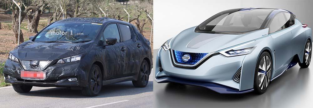 Comparación nuevo Nissan Leaf con el IDS Concept - delantera
