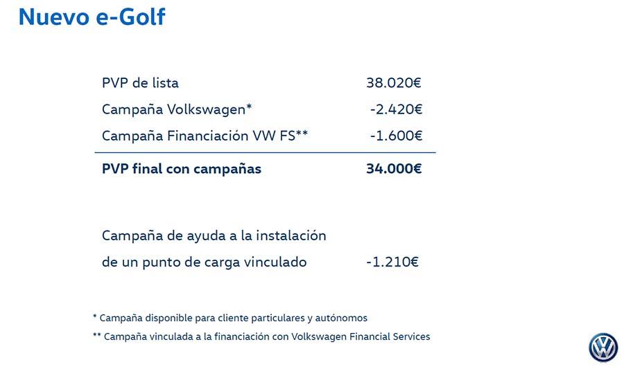 Precios del nuevo Volkswagen e-Golf 2017