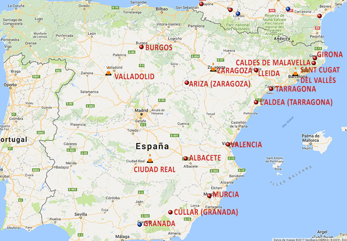 Mapa general de supercargadores de Tesla en España