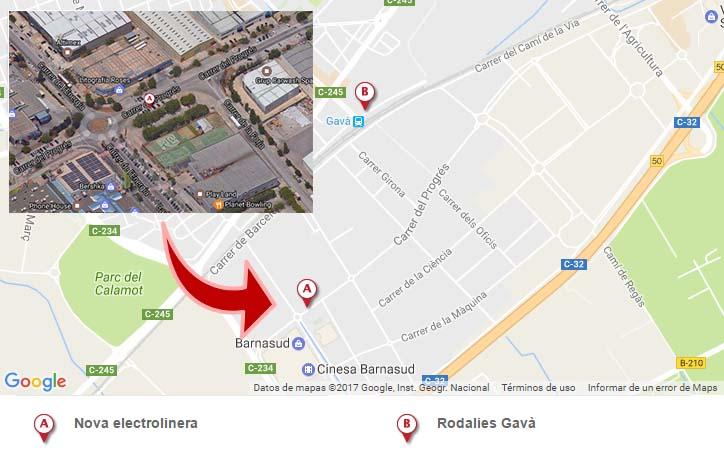 Situación del nuevo punto de recarga rápida y Bicibox en Gavà