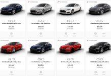Parte del catálogo que ofrece la web de Tesla en Estados Unidos