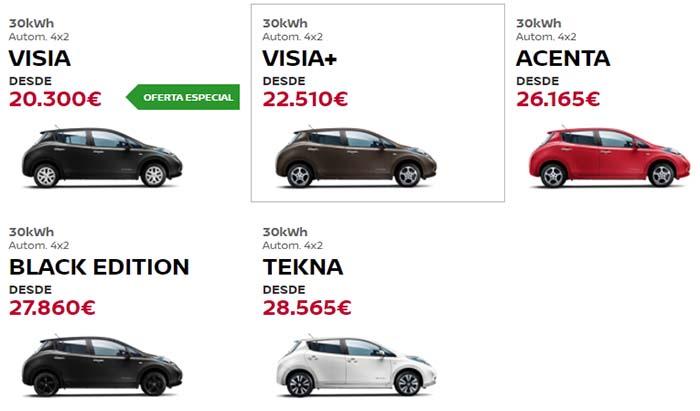 Precios del Nissan Leaf según el configurador de la web
