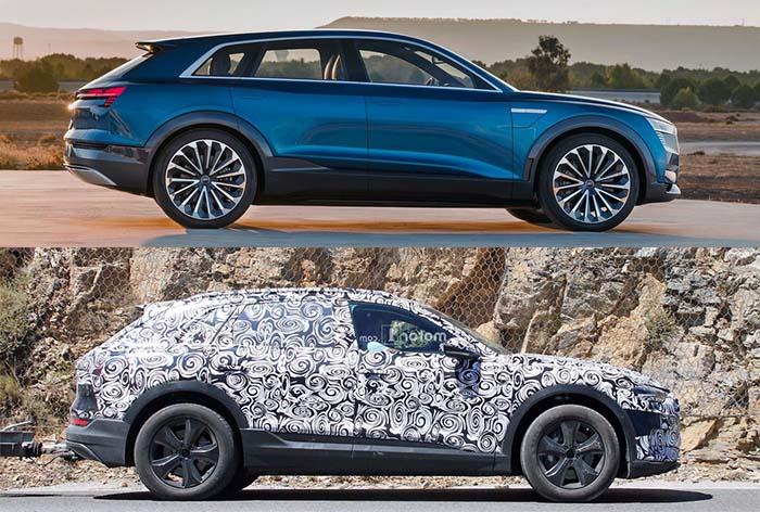 Comparativa Audi e-tron quattro concept y definitivo