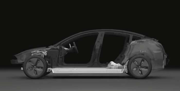 Distribución de los componentes mecánicos del tesla Model 3