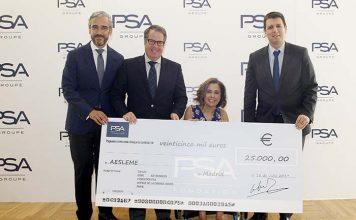 PSA dona 25.000 € a AESLEME para la prevención de lesiones por accidentes de tráfico