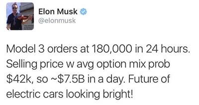 Tweet de Elon Musk sobre el precio medio de las reservas del Model 3
