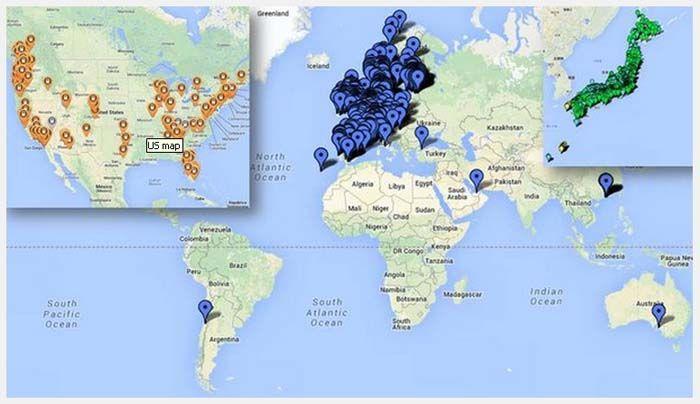 mapa mundo CHADEMO julio 2014