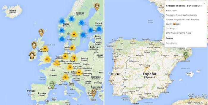 red cargadores  ccs en europa