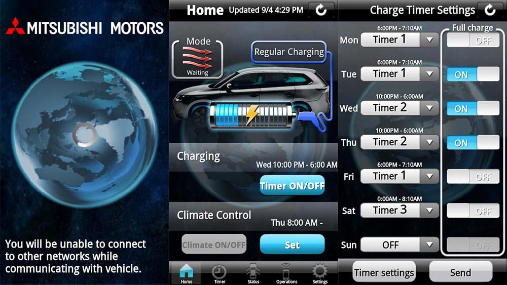 Aplicación móvil del Mitsubishi Outlander PHEV