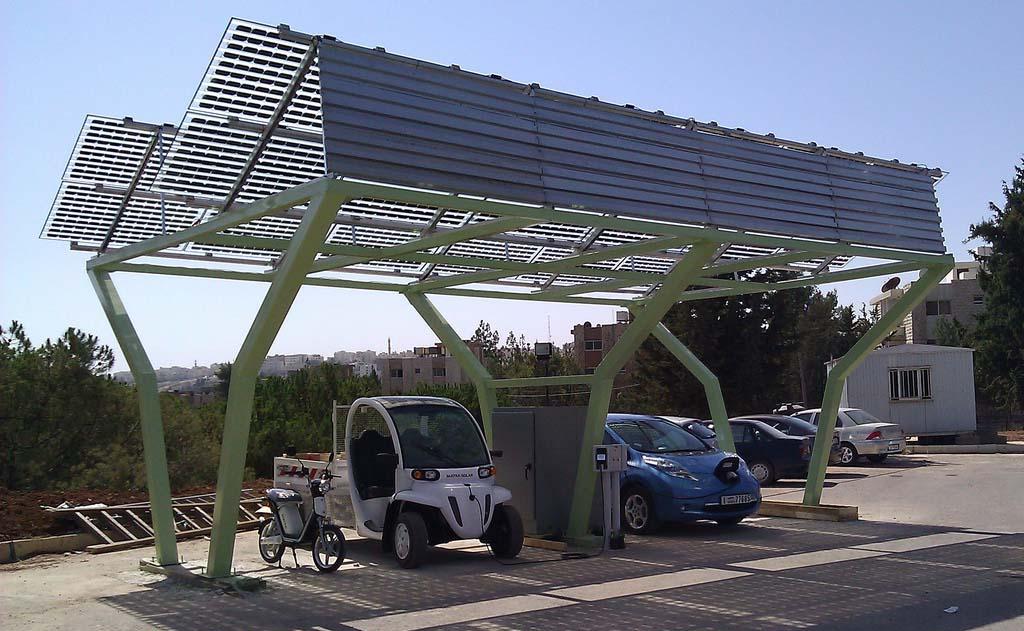 Estación de recarga solar DBT-CEV Netenergy y Hyseo International en Jordania
