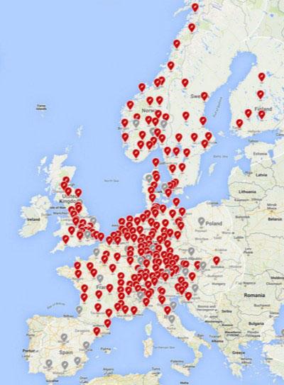 Red de supercargadores de Tesla en Europa