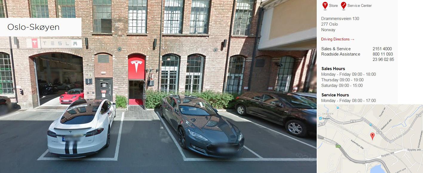 Tienda de Tesla Motors en Skøyen-Oslo