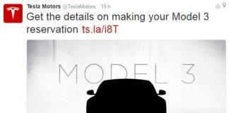 Tweet de Tesla Motors para explicar el proceso de reserva del Model 3