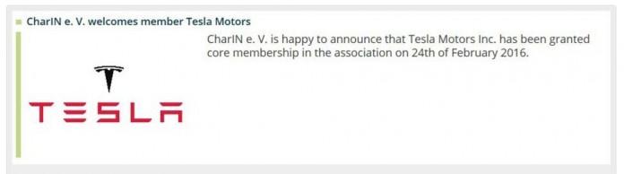 Anuncio de la entrade de Tesla Motors en CharIN e.V.