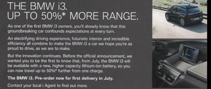Anuncio en Reino Unido sobre la nueva versión del BMW i3