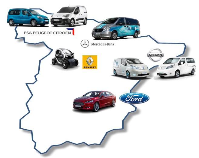 Mapa de fabricación de vehículos eléctricos en España