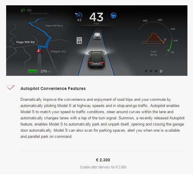 Opción de Autopilot en Europa