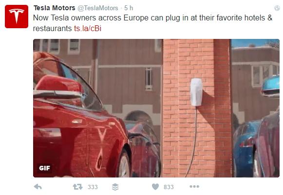 Tweet de Tesla Mortors anunciando el prgrama europeo Destination Charging