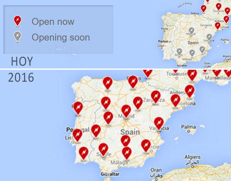 Ubicación de supercargadores en España (HOY-2016) según la web de Tesla Motors
