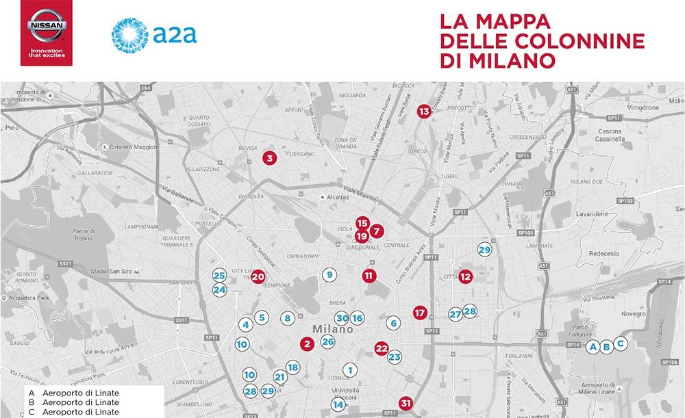 Plano de puntos de recarga rápida de Milán