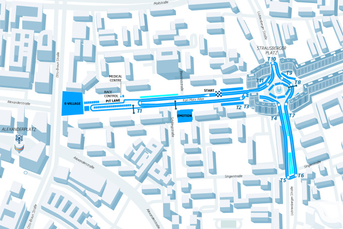 Trazado del circuito del ePrix de Berlín