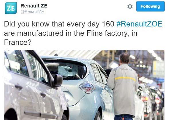 Tweet en la cuenta oficial de Renault ZE