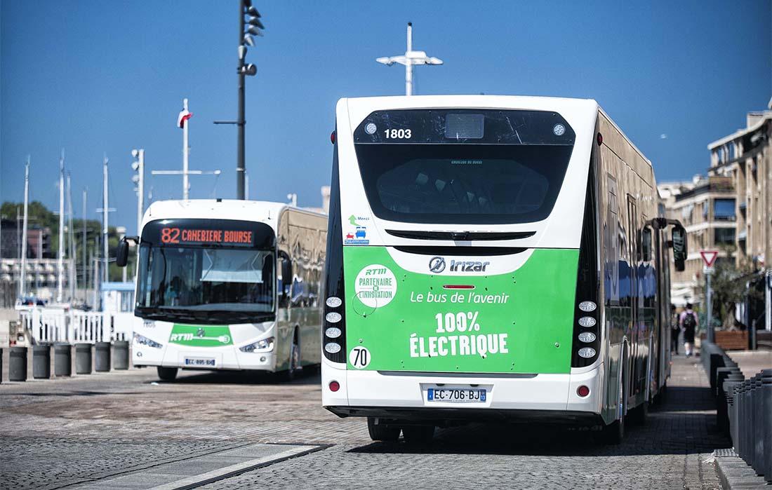 Autobus Irizar i2e en la línea 82 de Marsella - Canebière y Euromed