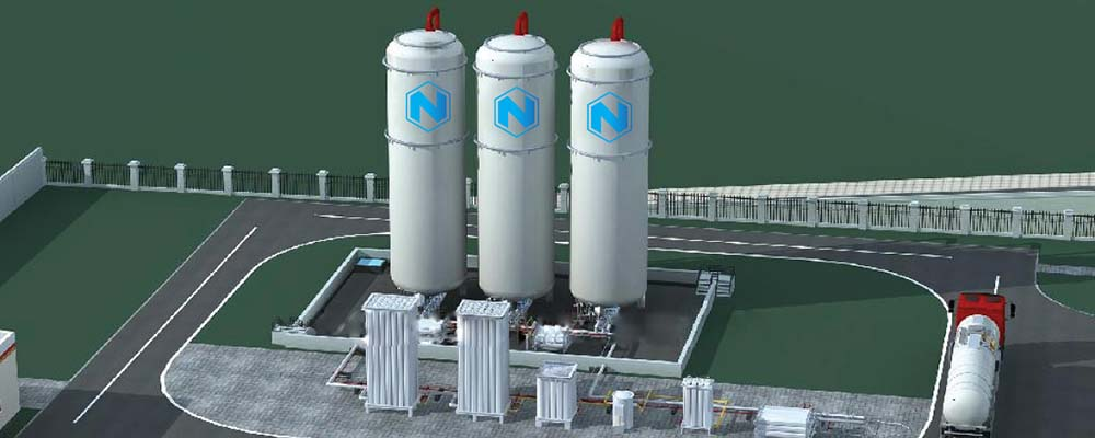 Render de una estación de repostaje de GNC de Nikola Motors