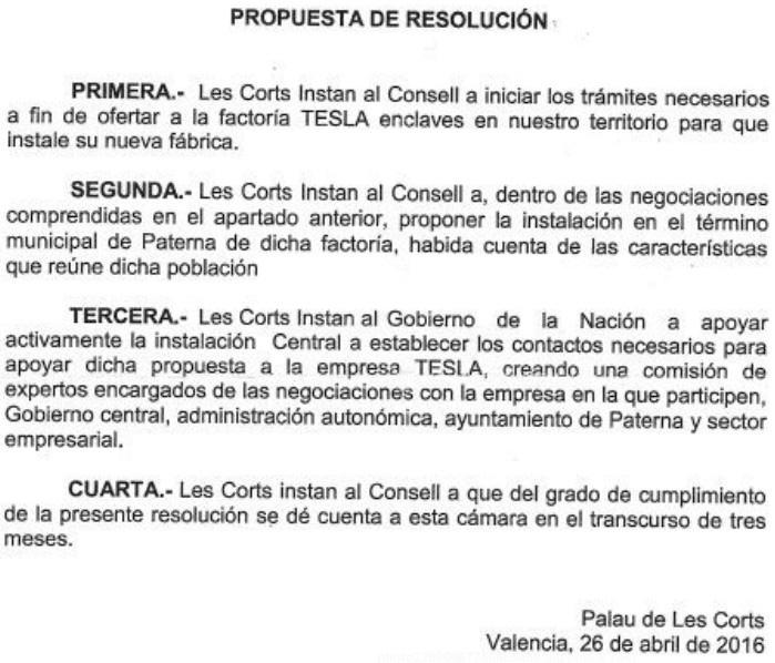 Resolución del Ayuntamiento de Paterna